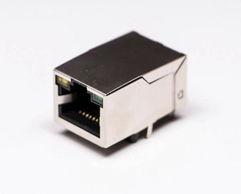 RJ45 Female Connectors  8P8C 180 Degree with LED and Shield