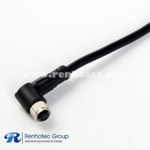 M5 Sensor Cable Overmolded 4Pin Female Right Angle Solder Single Ended Cable 26AWG 75CM