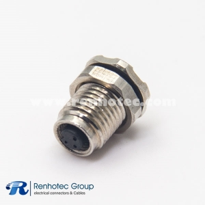 M5 Connector 3 Pin Female Hex flange front Mount Solder straight