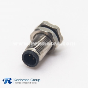 M5 3 Pin Connector Solder Male front Mount Hex flange