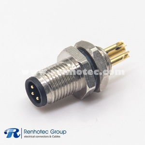 M5 Male Connector 3 Pin Solder Back Mount straight Panel receptacle Hex flange