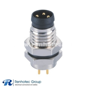3 Pin Circular Connector M8 Male Panel Receptacle Hex Flange Straight PCB Front Mount