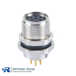M8 Circular Connectors 6Pin Female A Code Panel Receptacle Hex Flange Straight PCB Front Mount