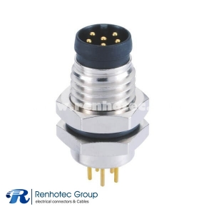 M8 Circular Connector Male A Code 6Pin Panel Receptacle Hex Flange Straight PCB Front Mount