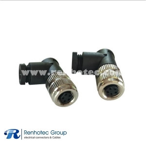 M8 Connector 5 Pin B Code Female Right Angle Screw-Joint Non-shield
