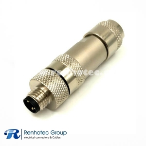 M8 3p Connector Male Field Wireable Straight Screw-Joint Shield