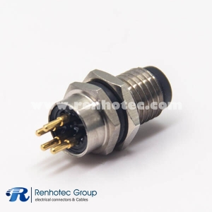 Connector M8 4 Pines Male Panel Receptacle Hex Flange PCB Front Mount Straight