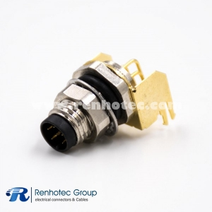 M8 PCB Connector 6Pin Male Panel Receptacle Hex Flange Right Angle Front Mount A Code