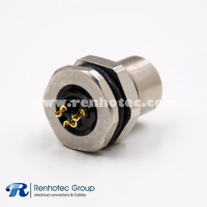 M8 3p Connector Female Panel Receptacle Hex Flange Cable Solder Front Mount Straight