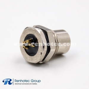 4 Pin M8 Connector Female Panel Receptacle Hex Flange Straight Solder Front Mount