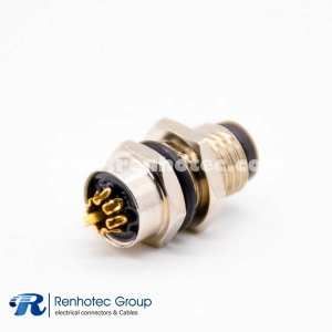 8 Pin Connector M8 Male Panel Receptacle Hex Flange Straight Cable Solder Front Mount A Code