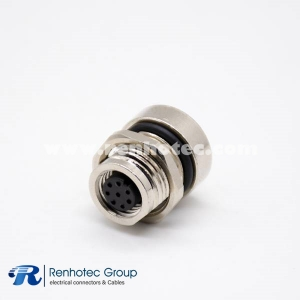 Circular Connector 8 Pin M8 Panel Receptacle Hex Flange A Code Female Straight Solder Front Mount
