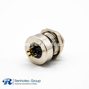 M8 Connector Female 4Pin Panel Receptacle Hex Flange Straight Front Mount PCB