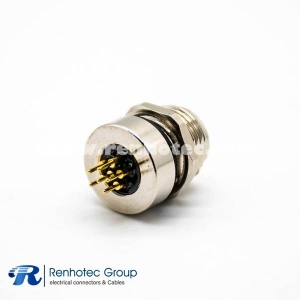 Sensor Connectors A Code 6Pin M8 Female Panel Receptacle Hex Flange Straight PCB Front Mount