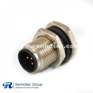 M12 5 Pin Connector Panel Receptacle Hex Flange A Code Male Straight Cable Solder Front Mount M12*1.0