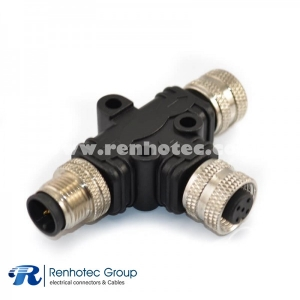 M12 to M12 Connector Splitter A Code 5Pin Male to Dual Female T Type