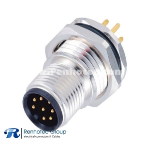 M12 8 Pin Connector Panel Receptacle Hex Flange A Code Male Straight PCB Mount Front Mount