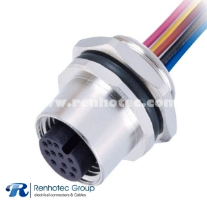 M12 Connector A Coded 12Pin Female Wire Harness Straight Solder Back Mount Single Ended Cable AWG26 1M