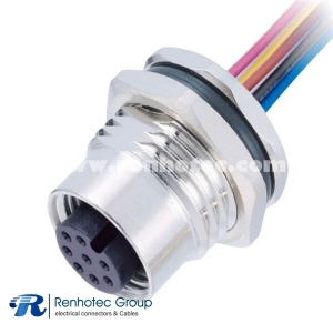 M12 8 Pin Female Connector A Code Wire Harness Straight Solder Front Mount Single Ended Cable AWG24 1M