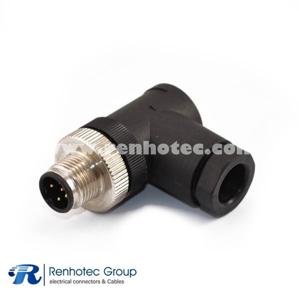 5 Pole M12 Connector Field Wireable B Code Male Right Angle Cable Screw-Joint Non-shield Plastic PG9