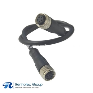 Overmolded Connectors M8 B Code 5Pin Female to Female Straight Solder Double Ended Cable AWG22 1.5M