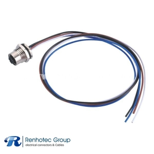 M12 4 Pin Connector D Coded Wire Harness Female Straight Solder Front Mount Single Ended Cable AWG22 1M PG9