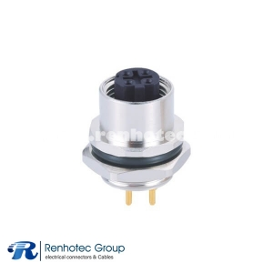 M12 D Code Connector Metal 4Pin Female Panel Receptacle Hex Flange Straight PCB Mount Back Mount