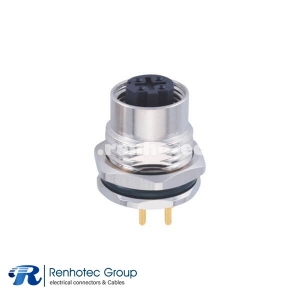 D-Coded M12 Connector Panel Receptacle Hex Flange 4Pin Female Straight PCB Mount Front Mount PG9