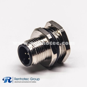 M12 Waterproof Connector Panel Receptacle Hex Flange A Code 5Pin Male Straight Cable Solder Back Mount