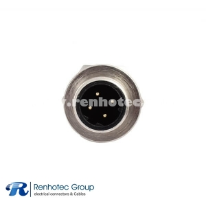 M12 D Coded Connector Panel Receptacle Hex Flange 4Pin Male Straight Cable Solder Back Mount PG9