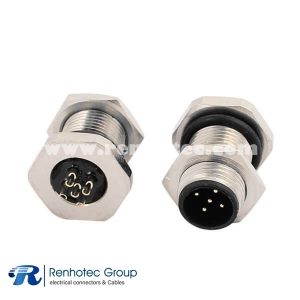 M12 B Coded Connector Panel Receptacle Hex Flange 5Pin Male Straight Cable Solder Front Mount