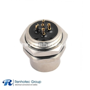M12 Male Connector Panel ip68 Hex Flange A Code 5Pin Female Straight Cable Solder Back Mount