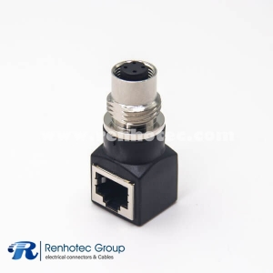 M12 to RJ45 Adapter A Code Female M12 4Pin to RJ45 8Pin Female Right Angle