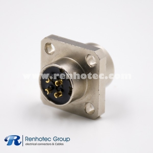 M12 Female Connector 4Pin A Code Panel Receptacle Straight Solder 4 Hole Flange Flange fixed