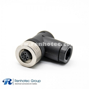 M12-4 Connector Field Wireable A Code Female Right Angle Cable Screw-Joint Non-shield Plastic PG9
