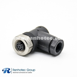 M12 8 Position Connector Field Wireable A Code Female Right Angle Cable Screw-Joint Non-shield Plastic PG9
