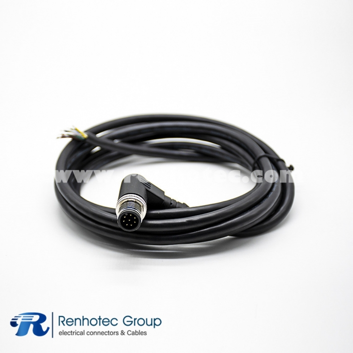 8 Pole M12 Connector Male A Code Overmolded Cable Right Angle Solder Single Ended Cable AWG24 2M