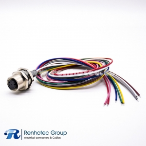 M12 8 Pole Connector Wire Harness A Code Female Straight Cable Solder Back Mount Single Ended Cable AWG24 0.2M