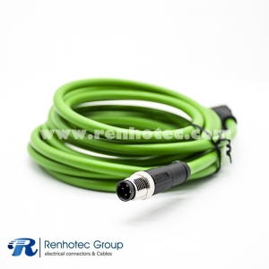 M12 Male D Code 4Pin to RJ45 8Pin Male Cable Overmolded Straight Solder Double Ended Cable AWG22 2M