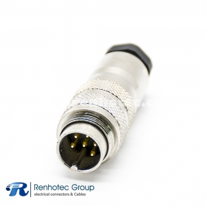 M16 ip67 Connector 6 Pin Male Field Wireable Straight Cable Screw-Joint Shield Metal