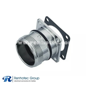 12p M23 Connector Female Panel Receptacle Straight Panel Mount Solder 4 Hole Flange