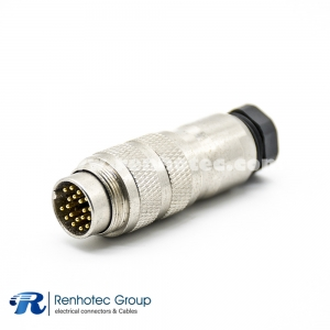 M23 Connector Coding Field Wireable Connector 19Pin Male Straight Cable Screw-Joint Shield Metal