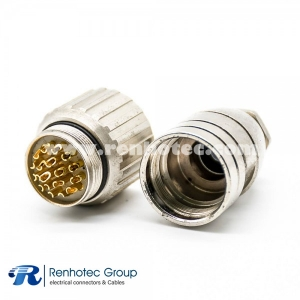 M23 Connector 19Pin Female Field Wireable Connector Straight Cable Screw-Joint Shield Metal