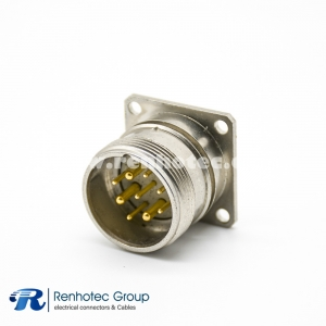 M23 Circular Connector Panel Receptacle 9Pin Male Straight Panel Mount Solder 4 Hole Flange