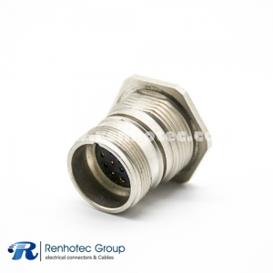 M23 Circular Connectors Panel Receptacle Hex Flange 17Pin Female Straight Cable Solder Front Mount