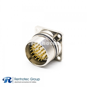 M23 Connector Coding Panel Receptacle 26Pin Male Straight Panel Mount Solder 4 Hole Flange