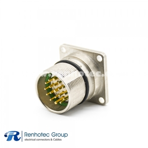 M23 Industrial Connector 19Pin Male Panel Flange Straight Panel Mount Solder 4 Hole Flange