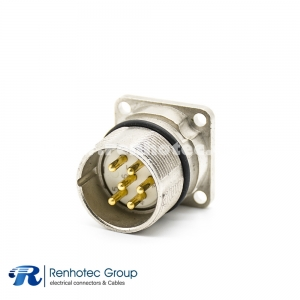 M23 bulkhead Connector 6Pin Male Panel Receptacle Straight Panel Mount Solder 4 Hole Flange