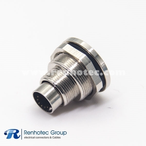 Circular Sensor M9 Panel Receptacle Hex Flange 6Pin Male Straight Cable Solder Front Mount