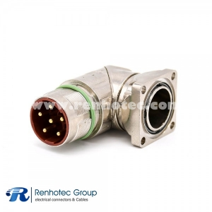 6 pin Circular Connector Male M40 Panel Receptacle Right Angle Panel Mount Solder 4 Hole Flange